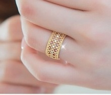 2015 Fashion Korean version of the influx of people openwork rose gold ring women love jewelry ring Free shipping