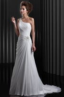 One Shoulder Sweep Train Chiffon Sequins 2014 Bridal Gown