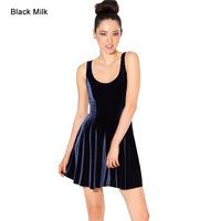 2015 new casual dress European and American models fashion sleeveless station women dark blue velvet dresses F88