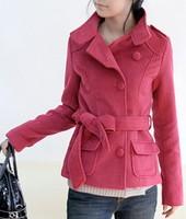 New 2014 Korean High-quality Thick Cashmere Wool Coat Buckle Short Jacket Autumn/Winter Women Coat 3 color Plus Size S M L XL