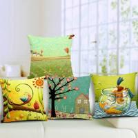 Fresh Flower 45*45cm Cushion Car Moden Cotton Linen Sofa Chair Seat Bed Pillow Case Cushion Home Decor Hotel Decorative Square