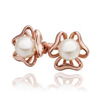 F09567 Tin Alloy Flower Earrings Stud Earrings Inlay Pearl for Women Lady