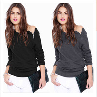 New Hot selling Zip collar off shoulder Long sleeve T-shirt Blouse Tops Blusas women clothes Size S M L XL