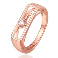 Promotion New 2015 18K Rose Gold Ring Austrian Crystal Unique Design Gold Rings for Women Jewelry Accessories Free Shipping