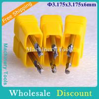 10pcs/lot 3.175*6MM 1 Flute Aluminum Cutting Tools, End Mill Bits, Spiral Cutters, Engraving Tools, Drill Bits, CNC Router Tools