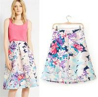 Women Elegant Floral Print Skirt Cotton Blends Kneel-Length Ball Gown Skirt Back zip Fastening Casual Skirt
