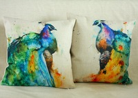 2pcs/lot 45X45cm Linen Cushion Cover throw pillows covers Vintage Watercolor Peacock Cushion Cover Decor Home