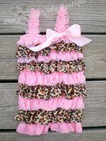 6pcs/lot Leopard Petti Lace Baby Girl Romper Photo Props Child Romper