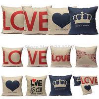 18Style Animal Home Love Heart Decorative Cotton Linen Pillow Case Cushion Cover
