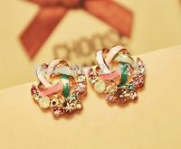 Wool shape Multicolored rhinestone stud earrings ladies temperament fashion women's earrings 537