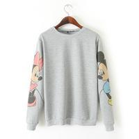 2015 Spring New Women Hoodies Cartoon Printed Long Sleeve Patchwork Sweatshirt Casual O-Neck Sports Sweatshirts A041
