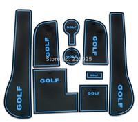 For VW Golf MK7 2013+ Non-Slip Interior Door Pocket Mat Cup Mat Blue 9 Pcs