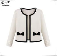Women Semi Formal Fashon Brand European Style High Quality Hot Sale Elegant Ivory Long Sleeve Bow Embellished Crop Coat