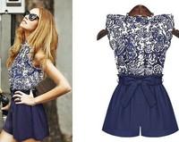 Summer Elegant Women Two Piece Top set Floral Print Shirt Sleeveless Blouse Blue Linen Short Pants suits Fashion Lady set 6340