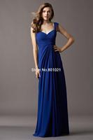 New Arrival Royal Blue Straps Floor Length Chiffon Sweetheart Cap Sleeves Draped A Line Bridesmaid Dress 2015