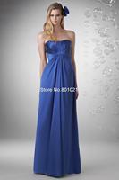 Sensual Looking Fancy Clingy A-line Strapless Floor Length Chiffon Blue Princess Discount Bridesmaid Dress