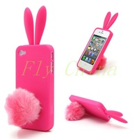 2014 New 1 pcs Cute Rabbit Ears Jelly TPU Case with Velvet Stand for iPhone 4 4S Free Shipping