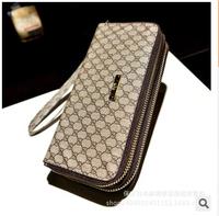 2015 Fashion long design Unisex double zipper Famous Brand Wallet Women and Men clutch purse l1471