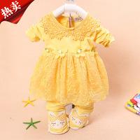 Retail 2015 Spring And Autumn Girls Clothing Sets Kids Suit  Baby Flower Cotton Suit(Coat+Pants) Children Clothes