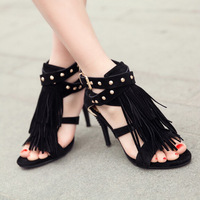 2015 new products women sandals  Open zipper. Frosted high heels  Tasseled. Sandals  Shoes free shipping