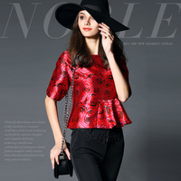 14122316 . fashion high quality 17 rose jacquard ruffle hem slim top