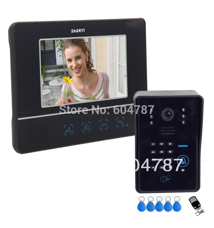 "7"" Video Door Phone DoorBell Intercom System Touch Panel Door Lock RFID Keyfobs(China (Mainland))"