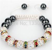 Sales Promotion 10mm Crystal AB Clay Disco Ball Shamballa Bracelets & Bangles Mix Colours Options SHABS 3pcs One Lot SM-2