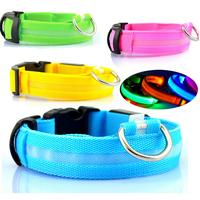Hot Sale LED Nylon Pet Dog Collar Night Safety LED Light-up Flashing Glow in the Dark Lighted Dog Collars, Free & Drop Shipping
