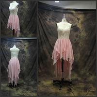 2014 Ruffles Chiffon Evening Dresses vestido de formatura New Style Front Short Back Long Evening Dress women party dresses