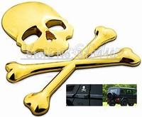 18pcs/lot 3D Personalized Car Sticker Skull Badge Auto Metal Skull Bone Logo Decorative For Jeep SUV Harley Honda Yamaha Toyotao
