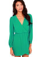 V-neck waist chiffon long-sleeved dress