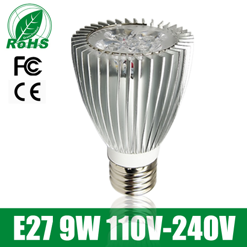 Par20 E27 9W 110V-240V High Power Aluminum Shell LED Spotlight Cold Warm White Dimmable Led Bulb Free Shipping(China (Mainland))