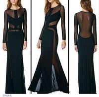 Sexy Full Sleeve Maxi Women Black Mesh Cutout Ruffled Long Evening Dress 2014 formal dresses LC6553 Vestido Longo gowns