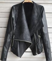 spring autumn woman leather jacket women jackets coat fur clothing punk wrap free shipping