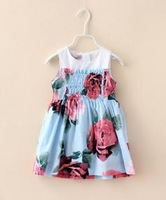 2015 Summer New children princess dress girls cotton Ruched flowers printing vest dress brand kids clothes A5454