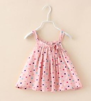 2015 Summer New children princess dress girls colorful polka dot Bow suspender dress kids clothes red white A5459