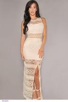 Hot Fashion roupas femininas women retro dress White Crochet Accent Lace Long Evening Gowns vestido de renda LC6674