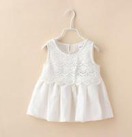 2015 Summer New children princess dress girls white lace hollow flowers dress Cotton Linen vest dress kids clothes A5451