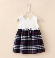 2015 Summer New children plaid dress girls Bow cotton splicing plaid vest dress kids clothes blue khaki A5453