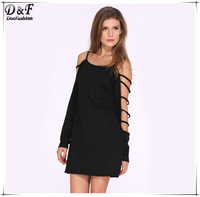New Arrival Desigual Free Shipping 2015 Summer Women High Fashion Brand Black Long Sleeve Off the Shoulder Loose Sexy Dress