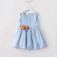 2015 Girls summer chiffon flower vest dress , baby girl clothes , children's dresses , 6pcs/lot   FJP39