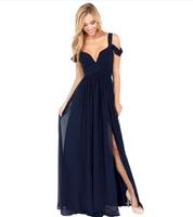 Elegant Greek wind pleated chiffon long and deep V lavish cocktail dress