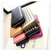 2015 Fashion Women Long Design PU leather high quality wallet candy color women's zipper clutch purse l1472