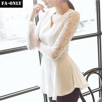 Hot sale Women Fashion Lace V-Neck Shirts Slim Chiffon Blouses Tops Free Shipping c1416