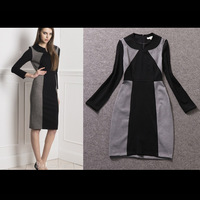 2015 Spring Autumn New Fashion Women's Long Sleeve Contrast Color Grey & Black Sheath Knee-length Office Dress