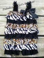 Zebra Leopard Lace Romper Ruffle Petti Romper Cheetah Baby Newborn Photo Prop 0 - 24 Months Vintage Infant