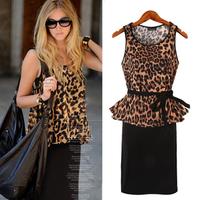 Vestidos 2 Piece Set Women Summer Dress 2015 New Sexy Leopard Chiffon Blouse + Black Strap Dress Ladies Casual Beach Dress XL05