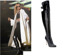 Hot Selling Designer Black Leather Over The Knee Boots High Heels Back Cut-out Women Celebrity Dress Shoes Drop Shipping