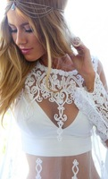 New 2015 Lace Blusas Shirt Women Sheer Embroidery Floral Crochet Lace Blouse Sexy See Through Women Tops Blusas Renda Lady Shirt