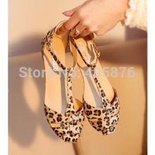 Grátis frete estampa de leopardo calcanhar plana das mulheres sandálias sapatos novos 2014 verão sapatos moda sandálias doce(China (Mainland))